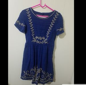Lucky Brand Blue and gold Dress size XS